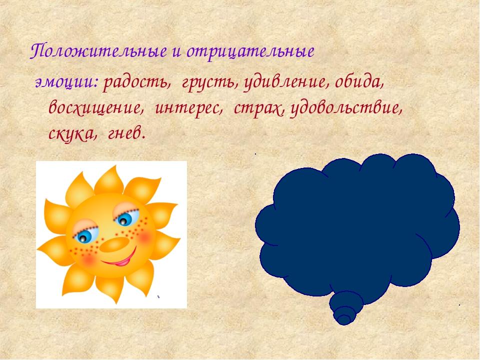 Положительные и отрицательные эмоции: радость, грусть, удивление, обида, вос...