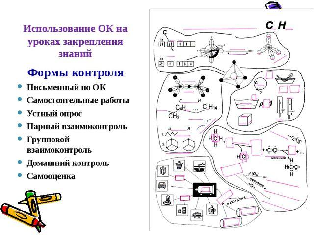 Использование ОК на уроках закрепления знаний Формы контроля Письменный по ОК...