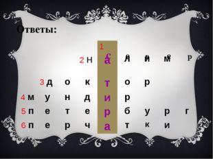 с е в е р Ответы: 1 2н а л и м 3д о к т о р 4м у н д и р 5п е т е р б у р г