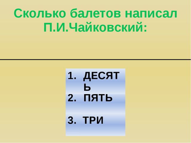 Сколько балетов написал П.И.Чайковский: 2. ПЯТЬ 3. ТРИ 1. ДЕСЯТЬ