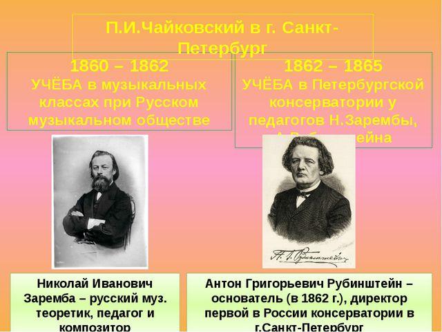 1860 – 1862 УЧЁБА в музыкальных классах при Русском музыкальном обществе 1862...