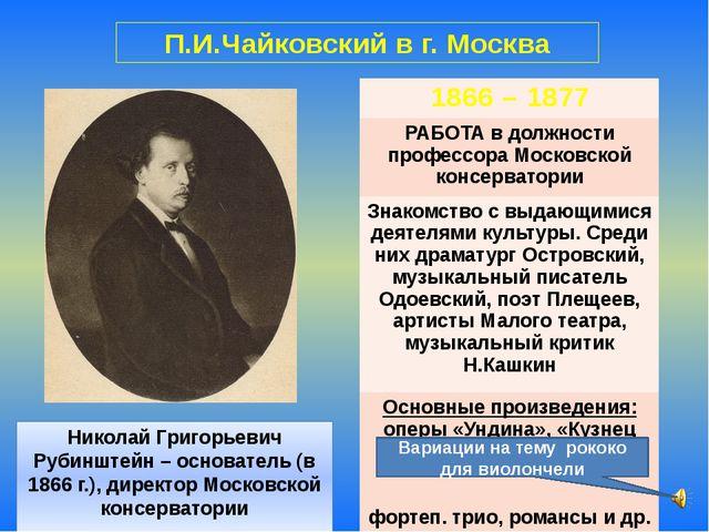 Николай Григорьевич Рубинштейн – основатель (в 1866 г.), директор Московской...