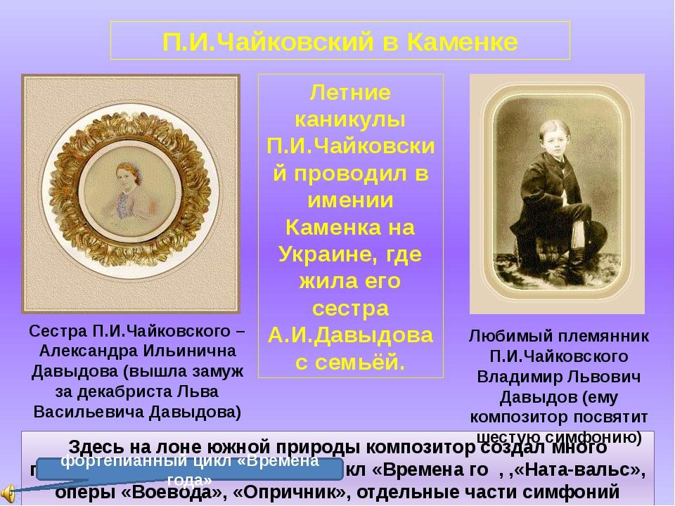 П.И.Чайковский в Каменке Летние каникулы П.И.Чайковский проводил в имении Кам...