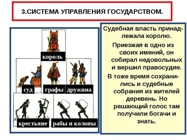 3.СИСТЕМА УПРАВЛЕНИЯ ГОСУДАРСТВОМ. король суд графы дружина крестьяне рабы и...