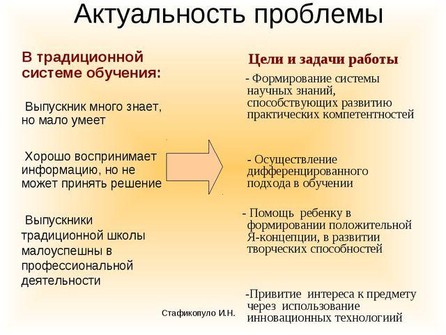 Актуальность проблемы В традиционной системе обучения: Выпускник много знает,...