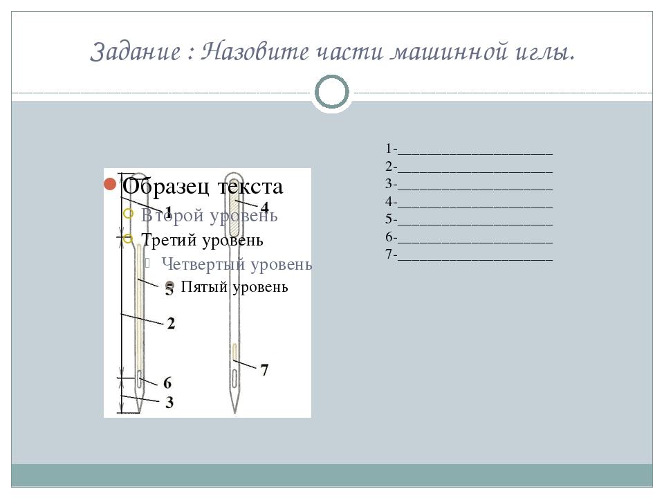 Задание : Назовите части машинной иглы. 1-_____________________ 2-___________...