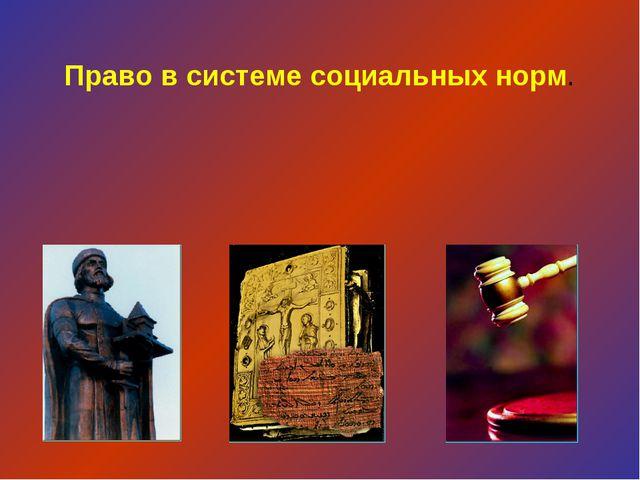 Право в системе социальных норм.