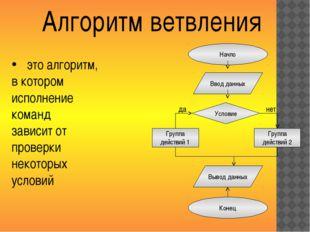 Начло Алгоритм ветвления Ввод данных Условие Группа действий 1 Группа действи