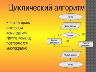Циклический алгоритм Начло Ввод данных Условие Группа действий 1 Группа дейст