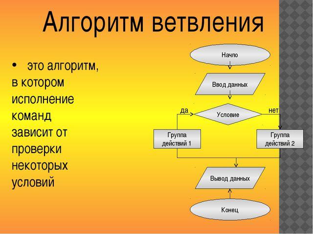Начло Алгоритм ветвления Ввод данных Условие Группа действий 1 Группа действи...