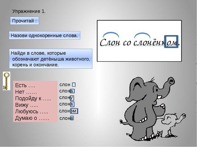 Упражнение 1. Прочитай : Слон со слонёнком. Назови однокоренные слова. Найди...