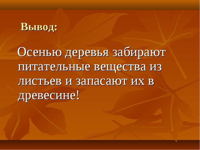 Вывод: Осенью деревья забирают питательные вещества из листьев и запасают их...