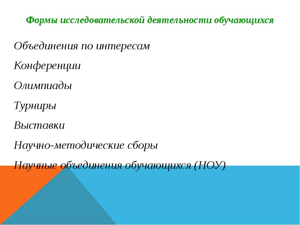 Формы исследовательской деятельности обучающихся Объединения по интересам Кон...
