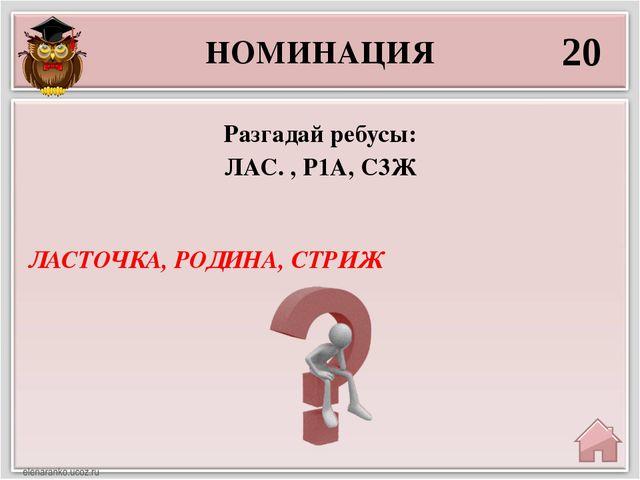 НОМИНАЦИЯ 20 ЛАСТОЧКА, РОДИНА, СТРИЖ Разгадай ребусы: ЛАС. , Р1А, С3Ж