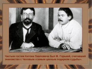 Частым гостем Антона Павловича был М. Горький, считавший знакомство с Чеховым