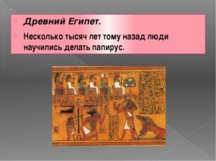 Древний Египет. Несколько тысяч лет тому назад люди научились делать папирус.