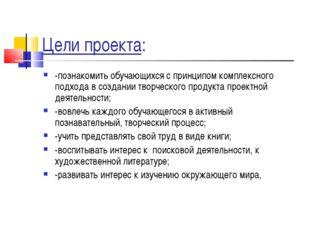 Цели проекта: -познакомить обучающихся с принципом комплексного подхода в соз