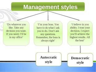 Management styles 'Do whatever you like. Take any decision you want. If you n