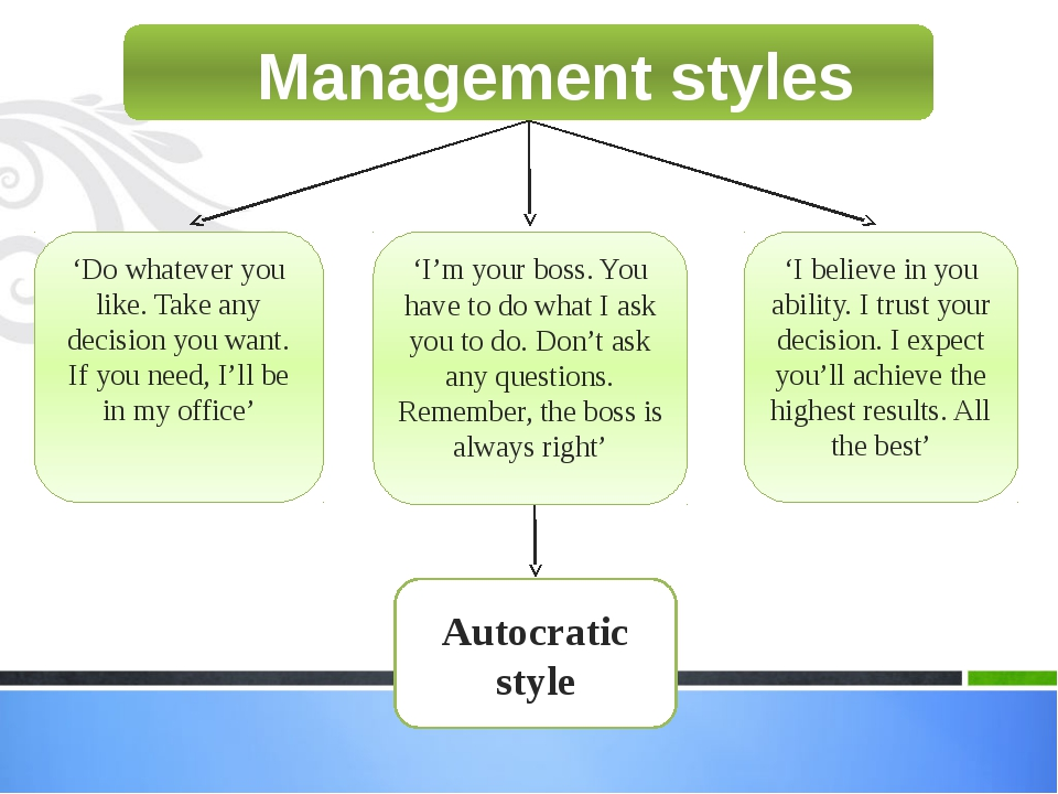 Management styles 'Do whatever you like. Take any decision you want. If you n...