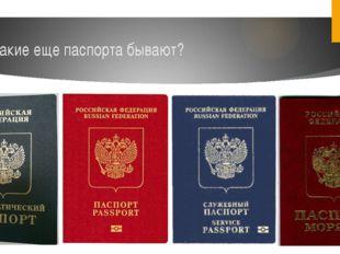 Какие еще паспорта бывают?