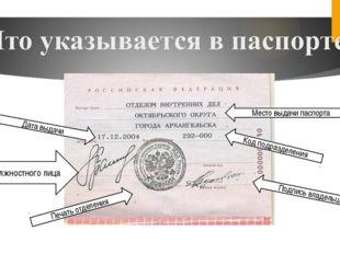 Печать отделения Подпись должностного лица Место выдачи паспорта Дата выдачи