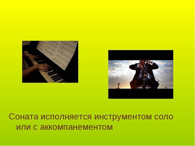Соната исполняется инструментом соло или с аккомпанементом