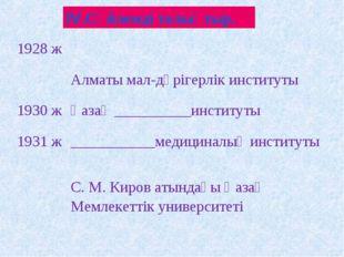 ІV.Сөйлемді толықтыр. 1928 ж Алматы мал-дәрігерлік институты 1930 жҚазақ _
