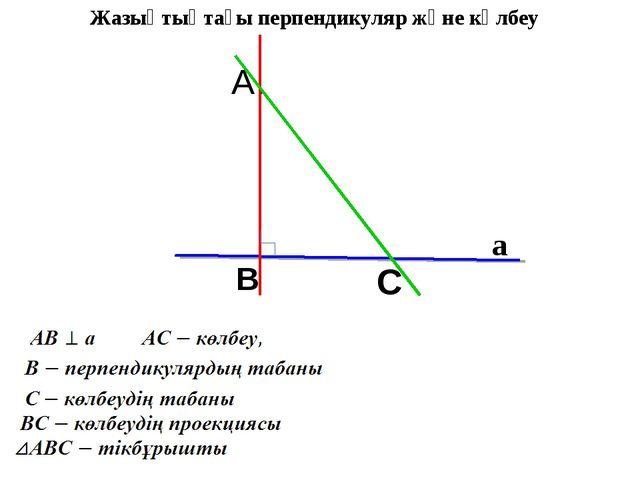 A. B C а Жазықтықтағы перпендикуляр және көлбеу