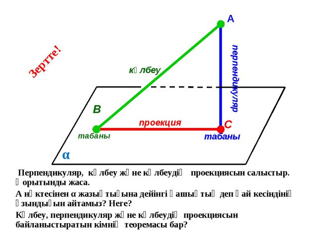 А Перпендикуляр, көлбеу және көлбеудің проекциясын салыстыр. Қорытынды жаса....