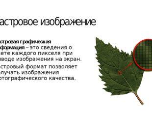 Растровое изображение Растровая графическая информация – это сведения о цвете