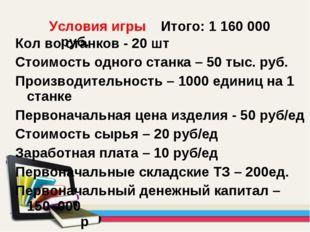 Кол во станков - 20 шт Стоимость одного станка – 50 тыс. руб. Производительно