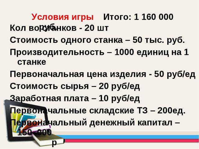 Кол во станков - 20 шт Стоимость одного станка – 50 тыс. руб. Производительно...