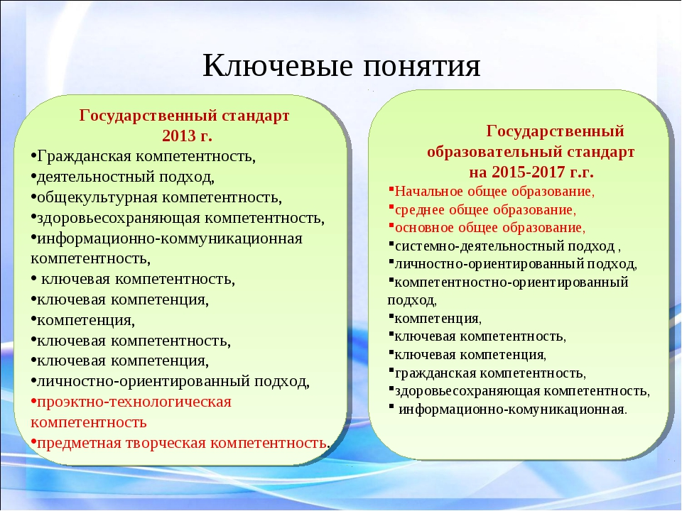 Ключевые понятия Государственный образовательный стандарт на 2015-2017 г.г. Н...