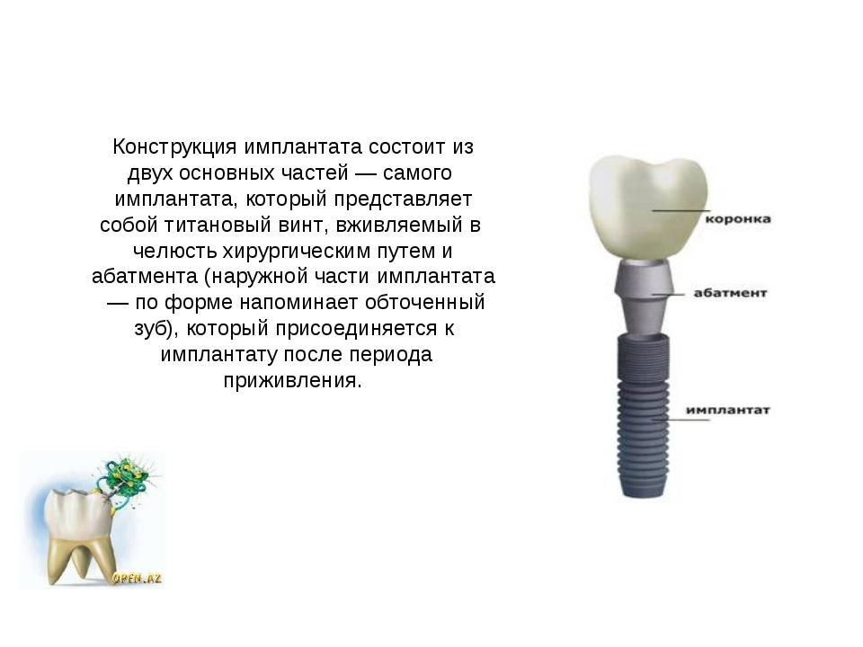 Конструкция имплантата состоит из двух основных частей — самого имплантата,...