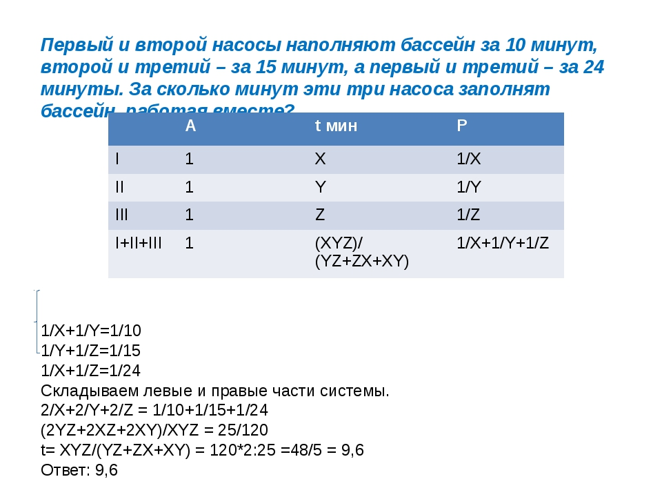 Первый и второй насосы наполняют бассейн за 10 минут, второй и третий – за 15...