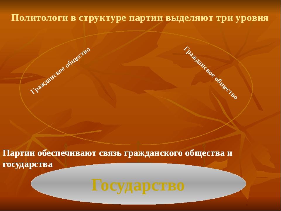 Политологи в структуре партии выделяют три уровня Государство Гражданское общ...
