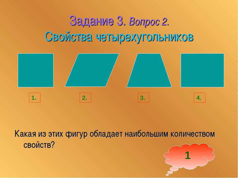 Задание 3. Вопрос 2. Свойства четырехугольников Какая из этих фигур обладает...