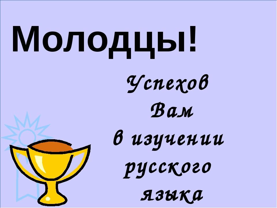 Успехов Вам в изучении русского языка Молодцы!
