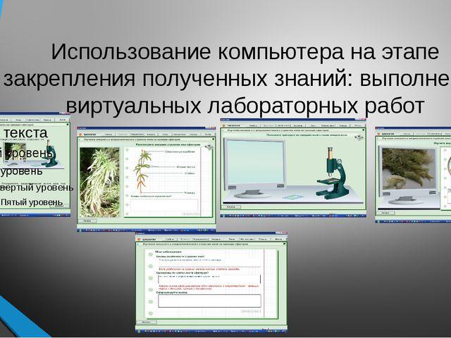 Использование компьютера на этапе закрепления полученных знаний: выполнение в...