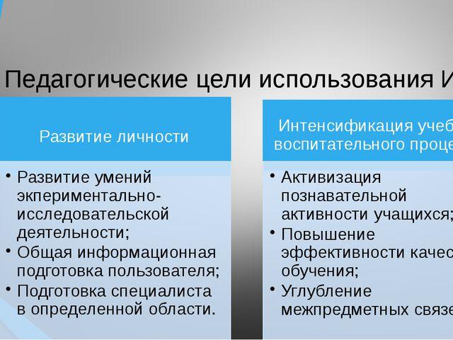 Педагогические цели использования ИКТ