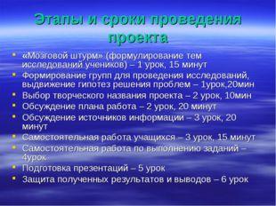 Этапы и сроки проведения проекта «Мозговой штурм» (формулирование тем исследо