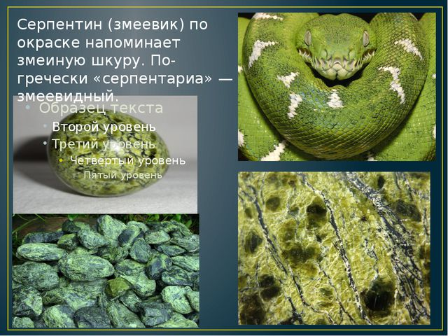 Серпентин (змеевик) по окраске напоминает змеиную шкуру. По-гречески «серпен...