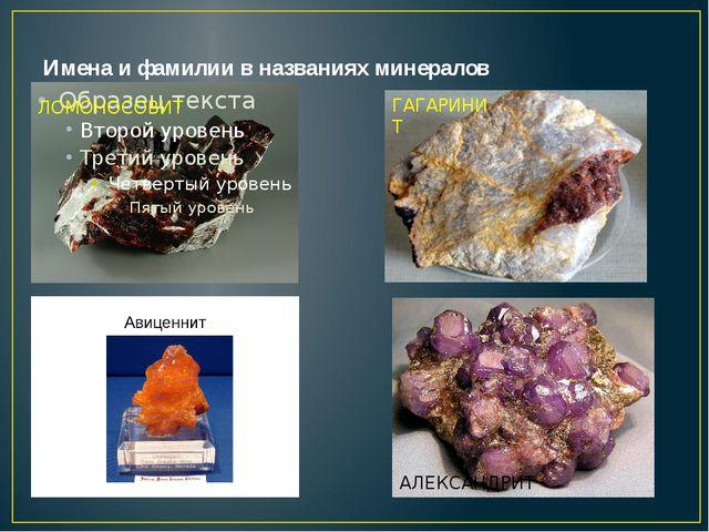 Имена и фамилии в названиях минералов ЛОМОНОСОВИТ ГАГАРИНИТ АЛЕКСАНДРИТ