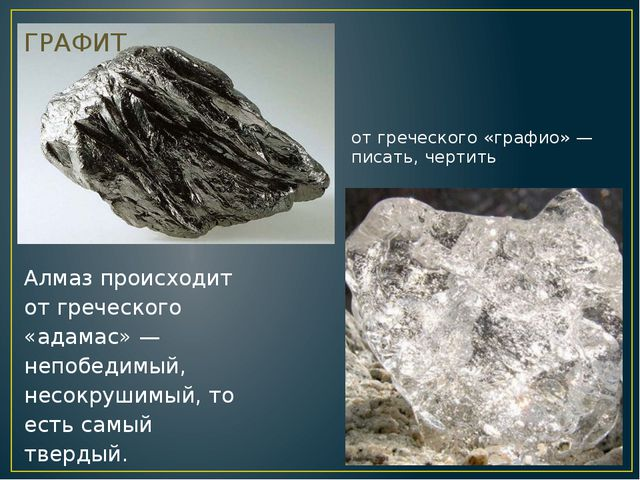 от греческого «графио» — писать, чертить  ГРАФИТ Алмаз происходит от греческ...