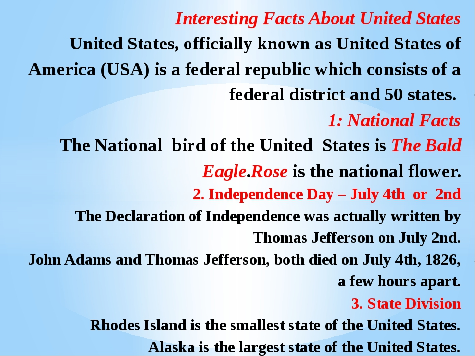 Interesting Facts About United States United States, officially known as Uni...