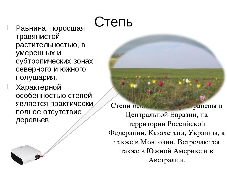 Степь Равнина, поросшая травянистой растительностью, в умеренных и субтропиче...