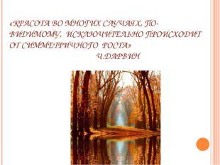 «КРАСОТА ВО МНОГИХ СЛУЧАЯХ, ПО-ВИДИМОМУ, ИСКЛЮЧИТЕЛЬНО ПРОИСХОДИТ ОТ СИММЕТРИ