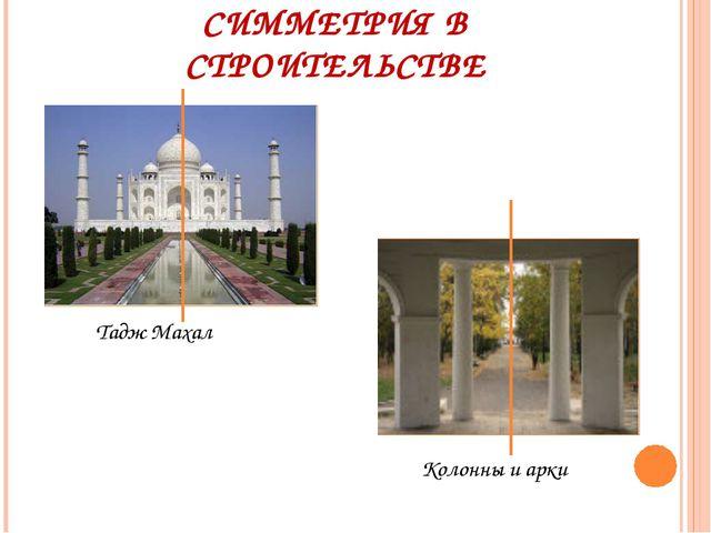 СИММЕТРИЯ В СТРОИТЕЛЬСТВЕ Тадж Махал Колонны и арки