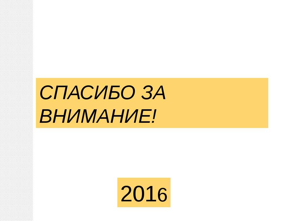 СПАСИБО ЗА ВНИМАНИЕ! 2016