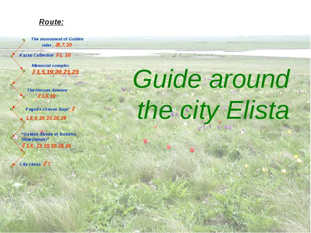 Guide around the city Elista Route: The monument of Golden rider , 5,7,20 Ka...
